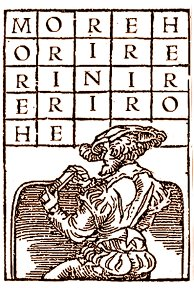 Renaissance man drawing a magic square as in German Abramelin
